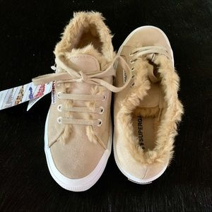 Superga leather faux fur sneakers, Sz 7 or 8, NEW